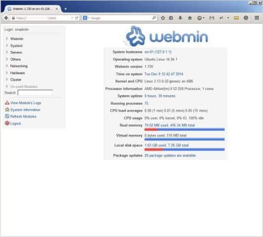 webmin в ubuntu server