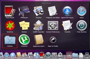 Меню приложений в OS X.