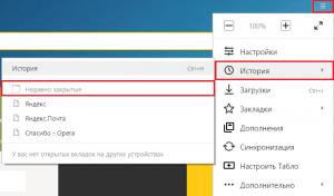 Меню Yandex.Browser.