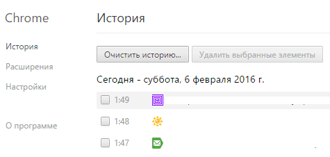 Журнал Google Chrome.