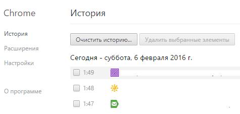 Журнал Google Chrome.